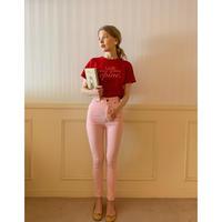 épine skinny denim baby pink