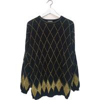 argyle pattern black&gold knit
