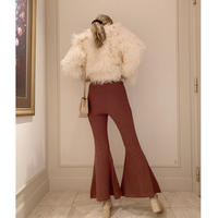 rib knit bell  pants rose brown