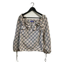 Burberry frill square neck check blouse