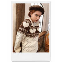 Nordic heart wool knit ivory