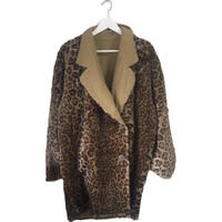 2way trench leopard fur coat