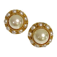 round pearl design earrings