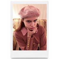 mohair fur béret pink