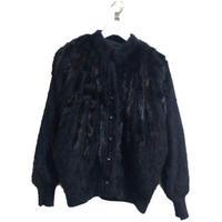 bijou fur knit blouson black