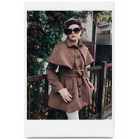 piping cape 2way coat brown check