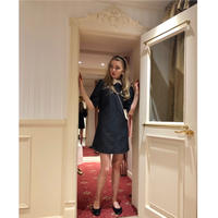 collar embroidery  dot onepiece black