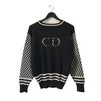 Dior monotone check design knit