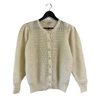 pearl knit cardigan white
