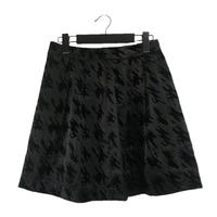 satin flare check mini skirt