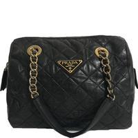 PRADA leather chain boston bag
