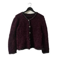 piping design wine knit cardigan