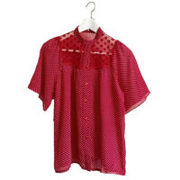lace design dot blouse red
