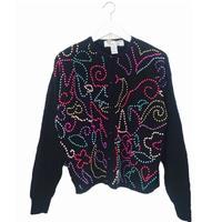 colorful Perl bijou knit cardigan