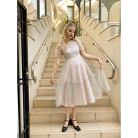 tulle see-through volume dress ivory dot