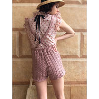 cable knit 2way short pants pink