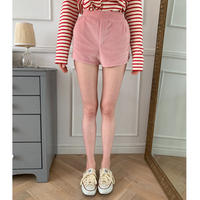side slit velours short pants baby pink