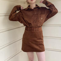 corduroy belt mini skirt brown