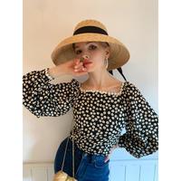 flower square neck blouse