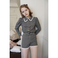 lace collar é button check knit cardigan