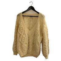 Vneck ponpon cable knit(No.2212)