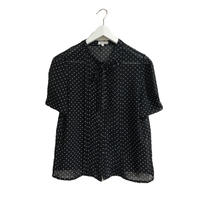 dot ribbon blouse black
