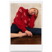 rose design knit red