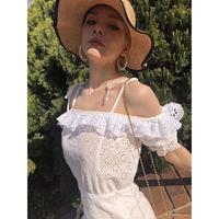 off shoulder frill lace blouse