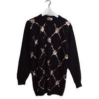 span argyle knit black