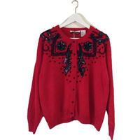 bijou design knit cardigan red