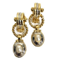 swing pearl gold earrings