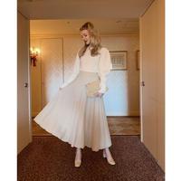 volume knit long skirt beige