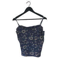 flower design thermal camisole blue