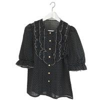 frill dot blouse black