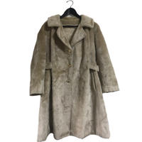 fur long coat milk tea beige