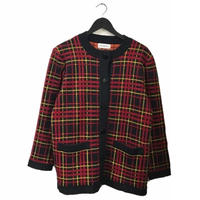 YSL check knit cardigan