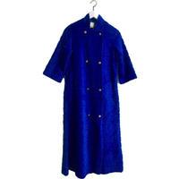 blue design fur long coat