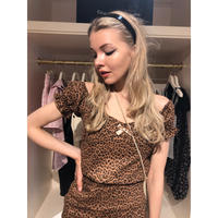 leopard ribbon blouse