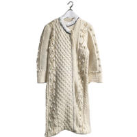 cord design fur knit coat