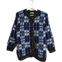 check design knit cardigan blue