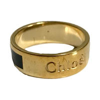 chloé logo ring black
