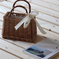 【EruMon】竹編みカゴバッグ スクエアカゴバッグ ハンドバッグ バンブーバッグ