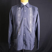"[ESG-01LP-HN] POLYESTER L/S  HEATHER  NAVY × WHITE ""ORIGINAL GUAYABERA"""