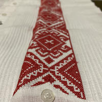 "[ESG-04L-WR] L/S GUAYABERA ""PUNTO DE CRUZ""  WHITEx RED"