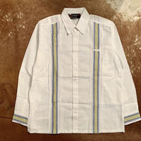 "[IMP-PL-WHTY-38] DEADSTOCK IMPORT GUAYABERA L/S ""WHITE×YELLOW-01""サイズ38"