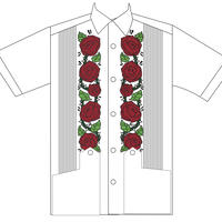 """[ESGS-02S-WR] S/S GUAYABERA """"ROSA """" WHITExRED"""""""