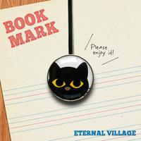 「大きな目をした黒ネコのクリップ型ブックマーク」no.041