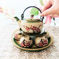 ベトナム バッチャン焼き 茶器セット 梅 緑の淵