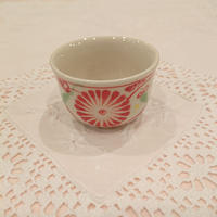 ベトナム バッチャン焼き湯呑み茶碗 菊柄(赤)