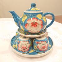 ベトナム バッチャン焼き 茶器セット 芙蓉 青色